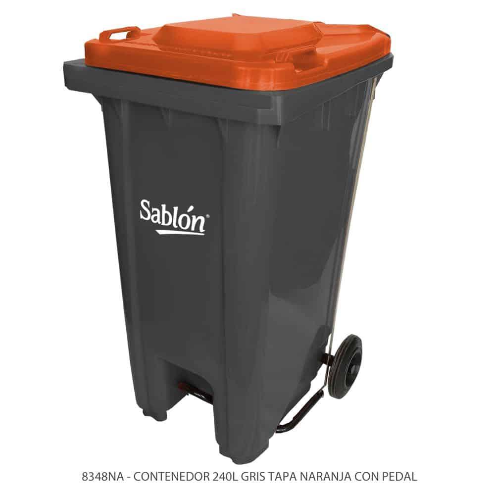 Contenedor-de-basura-de-240-litros-color-gris-con-tapa-de-color-naranja-y-con-pedal-Modelo-8348NA-Marca-Sablon